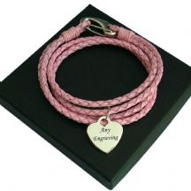 Engraved Heart Memorial Bracelet, Pink Leather